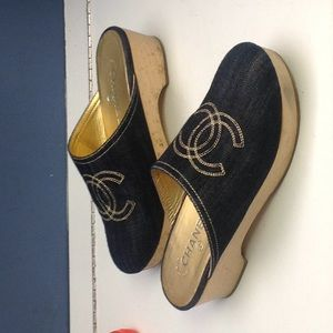 Chanel Denim Mules with Gold Thread